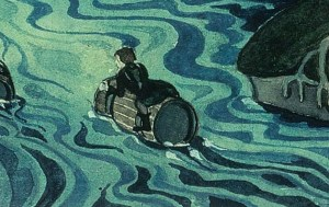 Detail of Bilbo floating on a barrel